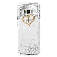 Недорогие Чехлы и кейсы для Galaxy S7-Кейс для Назначение SSamsung Galaxy S8 Plus S8 Стразы С узором Кейс на заднюю панель С сердцем Твердый Акрил для S8 Plus S8 S7 edge S7