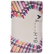 Недорогие Чехлы и кейсы для Samsung Tab-Кейс для Назначение SSamsung Galaxy Tab 3 Lite Бумажник для карт со стендом Флип С узором Чехол Слова / выражения Твердый Кожа PU для Tab