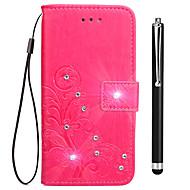 preiswerte Handyhüllen-Hülle Für Vivo Y53 Xplay6 Kreditkartenfächer Geldbeutel Strass mit Halterung Flipbare Hülle Geprägt Ganzkörper-Gehäuse Blume Hart PU-Leder