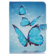 Недорогие Чехлы и кейсы для Galaxy Tab 4 7.0-Кейс для Назначение Samsung Бумажник для карт Кошелек со стендом С узором Авто Режим сна / Пробуждение Чехол Бабочка Твердый Кожа PU для