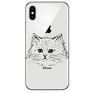 Недорогие Кейсы для iPhone 8 Plus-Кейс для Назначение Apple iPhone X iPhone 8 Ультратонкий С узором Кейс на заднюю панель Кот Мягкий ТПУ для iPhone X iPhone 8 Pluss iPhone