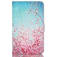 Недорогие Чехлы и кейсы для Galaxy Tab 4 7.0-Кейс для Назначение Samsung Tab 4 7.0 Бумажник для карт Кошелек со стендом С узором Авто Режим сна / Пробуждение Чехол Цветы Твердый Кожа