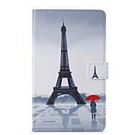 Недорогие Чехлы и кейсы для Samsung Tab-Кейс для Назначение SSamsung Galaxy Tab A 8.0 (2017) Кошелек / со стендом / Флип Чехол Эйфелева башня Твердый Кожа PU для Tab A 8.0 (2017)