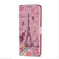 Недорогие Чехлы и кейсы для Galaxy S9-Кейс для Назначение SSamsung Galaxy S9 S9 Plus Бумажник для карт Кошелек со стендом Флип Магнитный Чехол Эйфелева башня Твердый Кожа PU