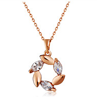 Women's Flower Floral Fashion Pendant Necklace Crystal Rose Gold Crystal Pendant Necklace , Party Office & Career