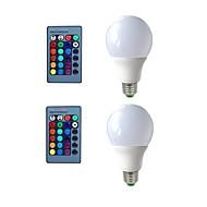 お買い得  LED ボール型電球-2pcs 5W 270lm E26 / E27 LEDボール型電球 3 LEDビーズ 装飾用 リモコン操作 RGB 200-240V 110-120V 110-130V 220-240V