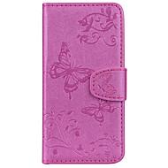 Недорогие Чехлы и кейсы для Galaxy S6 Edge Plus-Кейс для Назначение SSamsung Galaxy S9 S9 Plus Бумажник для карт Кошелек со стендом С узором Рельефный Чехол Бабочка Твердый Кожа PU для