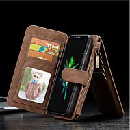 Недорогие Кейсы для iPhone 8-Кейс для Назначение Apple iPhone X / iPhone 8 Plus Кошелек / Бумажник для карт / Защита от удара Чехол Однотонный Твердый Настоящая кожа для iPhone X / iPhone 8 Pluss / iPhone 8