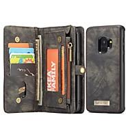 Недорогие Чехлы и кейсы для Galaxy S9-Кейс для Назначение SSamsung Galaxy S9 Бумажник для карт Кошелек со стендом Флип Магнитный Чехол Сплошной цвет Твердый Настоящая кожа для