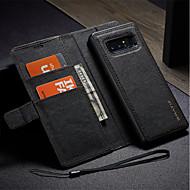 Недорогие Чехлы и кейсы для Galaxy Note 8-Кейс для Назначение SSamsung Galaxy Note 8 Бумажник для карт Кошелек со стендом Флип Своими руками Чехол Сплошной цвет Твердый Кожа PU для
