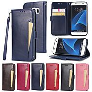 Недорогие Чехлы и кейсы для Galaxy S7 Edge-Кейс для Назначение SSamsung Galaxy S7 edge S7 Бумажник для карт Кошелек со стендом Флип Чехол Сплошной цвет Твердый Кожа PU для S7 edge