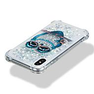 Недорогие Кейсы для iPhone 8-Кейс для Назначение Apple iPhone X iPhone 8 Защита от удара Движущаяся жидкость С узором Кейс на заднюю панель Сияние и блеск Сова Мягкий