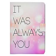 Недорогие Чехлы и кейсы для Galaxy Tab E 9.6-Кейс для Назначение SSamsung Galaxy Tab E 9.6 / Tab A 10.1 (2016) Бумажник для карт / со стендом / Флип Чехол Слова / выражения / С сердцем Твердый Кожа PU для Tab 3 Lite / Tab E 9.6 / Tab A 8.0