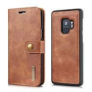 Недорогие Чехлы и кейсы для Galaxy S9-Кейс для Назначение SSamsung Galaxy S9 S9 Plus Бумажник для карт Кошелек Флип Магнитный Чехол Сплошной цвет Твердый Настоящая кожа для S9