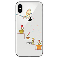 Недорогие Кейсы для iPhone 8 Plus-Кейс для Назначение Apple iPhone X / iPhone 8 Прозрачный / С узором Кейс на заднюю панель Кот / Цветы Мягкий ТПУ для iPhone X / iPhone 8 Pluss / iPhone 8