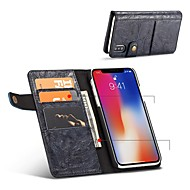 Недорогие Кейсы для iPhone 8 Plus-Кейс для Назначение Apple iPhone X iPhone 8 Бумажник для карт Защита от удара Флип Чехол Сплошной цвет Твердый Кожа PU для iPhone X
