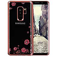 Недорогие Чехлы и кейсы для Galaxy S9 Plus-Кейс для Назначение SSamsung Galaxy S9 S9 Plus Стразы Ультратонкий Кейс на заднюю панель Цветы Мягкий ТПУ для S9 Plus S9 S8 Plus S8