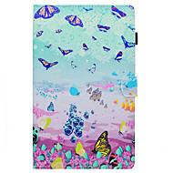 Недорогие Чехлы и кейсы для Galaxy Tab E 9.6-Кейс для Назначение SSamsung Galaxy Tab E 9.6 Бумажник для карт / со стендом / Флип Чехол Бабочка Твердый Кожа PU для Tab E 9.6