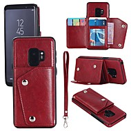 Недорогие Чехлы и кейсы для Galaxy S8-Кейс для Назначение SSamsung Galaxy S9 S9 Plus Бумажник для карт Кошелек Флип Магнитный Чехол Однотонный Твердый Настоящая кожа для S9