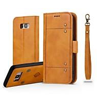 Недорогие Чехлы и кейсы для Galaxy S7-Кейс для Назначение SSamsung Galaxy S8 Plus S8 Бумажник для карт Кошелек Флип Магнитный Чехол Однотонный Твердый Настоящая кожа для S8