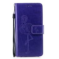 Недорогие Чехлы и кейсы для Galaxy S9 Plus-Кейс для Назначение SSamsung Galaxy S9 S9 Plus Бумажник для карт Кошелек со стендом Флип Рельефный Чехол Фламинго Твердый Кожа PU для S9
