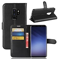 Недорогие Чехлы и кейсы для Galaxy S6 Edge Plus-Кейс для Назначение SSamsung Galaxy S9 S9 Plus Бумажник для карт Кошелек со стендом Чехол Однотонный Твердый Кожа PU для S9 Plus S9 S8