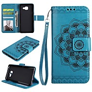 Недорогие Чехлы и кейсы для Galaxy A5(2016)-Кейс для Назначение SSamsung Galaxy A8 2018 A8 Plus 2018 Бумажник для карт Кошелек Флип Рельефный Чехол Цветы Твердый Кожа PU для A3