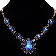 preiswerte -Damen Bühnenlicht vielfarbig Blume Kristall Statement Ketten  -  Modisch Hellblau Dark Gray Königsblau Modische Halsketten Für Party