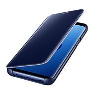 Недорогие Чехлы и кейсы для Galaxy S7 Edge-Кейс для Назначение SSamsung Galaxy S9 S9 Plus Зеркальная поверхность Флип Авто Режим сна / Пробуждение Чехол Однотонный Твердый Кожа PU