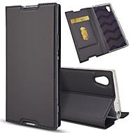 お買い得  携帯電話ケース-ケース 用途 Sony Xperia Z5 Mini / Xperia XZ カードホルダー / スタンド付き / フリップ フルボディーケース ソリッド ハード PUレザー のために Sony Xperia Z5 / Sony Xperia Z5 Compact / Z5 Mini