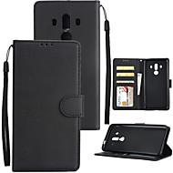 お買い得  携帯電話ケース-ケース 用途 Huawei Mate 10 Mate 10 pro カードホルダー ウォレット 耐衝撃 フリップ フルボディーケース ソリッド ハード PUレザー のために Mate 10 pro Mate 10