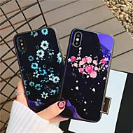 Недорогие Кейсы для iPhone 8 Plus-Кейс для Назначение Apple iPhone X iPhone 8 Защита от удара С узором Кейс на заднюю панель С сердцем Цветы Твердый Закаленное стекло для