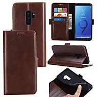 Недорогие Чехлы и кейсы для Galaxy S9 Plus-Кейс для Назначение SSamsung Galaxy S9 S9 Plus Бумажник для карт Флип Магнитный Чехол Однотонный Твердый Настоящая кожа для S9 Plus S9 S8