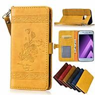 Недорогие Чехлы и кейсы для Galaxy A3(2016)-Кейс для Назначение SSamsung Galaxy A8 Plus 2018 / A8 2018 Кошелек / Бумажник для карт / Флип Чехол Цветы Твердый Кожа PU для A3 (2017) /