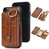 Недорогие Кейсы для iPhone 8-Кейс для Назначение Apple iPhone X / iPhone 8 Бумажник для карт / Кошелек / со стендом Чехол Однотонный Твердый Настоящая кожа для iPhone