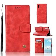 お買い得  携帯電話ケース-ケース 用途 Sony Xperia XZ ウォレット / カードホルダー / スタンド付き フルボディーケース ソリッド ハード PUレザー のために Sony Xperia XZ