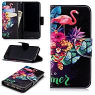 Недорогие Чехлы и кейсы для Galaxy S9-Кейс для Назначение SSamsung Galaxy S9 Кошелек / Бумажник для карт / со стендом Чехол Фламинго Твердый Кожа PU для S9