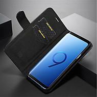 Недорогие Чехлы и кейсы для Galaxy S7-Кейс для Назначение SSamsung Galaxy S9 Plus / S9 Кошелек / Бумажник для карт / Флип Чехол Однотонный Твердый Настоящая кожа для S9 / S9