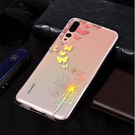 お買い得  携帯電話ケース-ケース 用途 Huawei P20 lite / P20 メッキ仕上げ / パターン バックカバー バタフライ / タンポポ ソフト TPU のために Huawei P20 lite / Huawei P20 Pro / Huawei P20
