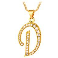 お買い得  -キュービックジルコニア 幾何学模様 ペンダントネックレス  -  アルファベット ファッション ゴールド, シルバー 55 cm ネックレス ジュエリー 用途 日常
