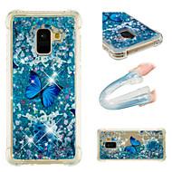 Недорогие Чехлы и кейсы для Galaxy A7(2017)-Кейс для Назначение SSamsung Galaxy A8 Plus 2018 / A8 2018 Защита от удара / Движущаяся жидкость / С узором Кейс на заднюю панель Бабочка / Сияние и блеск Мягкий ТПУ для A3 (2017) / A5 (2017) / A7