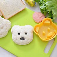 お買い得  キッチン用小物-テディベアの形サンドイッチカッターdiyプラスチック米金型おにぎりカッター