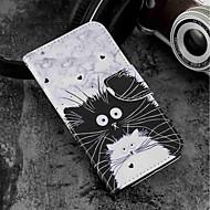 preiswerte Handyhüllen-Hülle Für Wiko WIKO Sunny 2 plus Geldbeutel / Kreditkartenfächer / mit Halterung Ganzkörper-Gehäuse Katze Hart PU-Leder für Wiko View prime / Wiko Lenny 4 PLUS