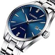 お買い得  -CADISEN 男性用 機械式時計 日本産 50 m 耐水 カレンダー ステンレス バンド ハンズ ぜいたく ファッション シルバー - ブラック グリーン ブルー