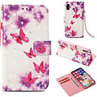 Недорогие Кейсы для iPhone 8 Plus-Кейс для Назначение Apple iPhone X / iPhone 8 Plus Бумажник для карт / Кошелек / со стендом Чехол Бабочка Твердый Кожа PU для iPhone X /