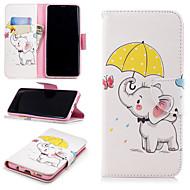 Недорогие Чехлы и кейсы для Galaxy S9 Plus-Кейс для Назначение SSamsung Galaxy S9 Plus / S9 Кошелек / Бумажник для карт / со стендом Чехол Слон / Цветы Твердый Кожа PU для S9 / S9