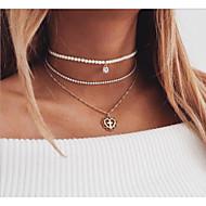 preiswerte -Damen Mehrschichtig Layered Ketten  -  Künstliche Perle Herz Europäisch, Modisch Gold 36 cm Modische Halsketten 1pc Für Alltag