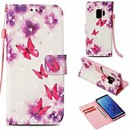 Недорогие Чехлы и кейсы для Galaxy S9-Кейс для Назначение SSamsung Galaxy S9 Кошелек / Бумажник для карт / со стендом Чехол Бабочка Твердый Кожа PU для S9