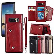 Недорогие Чехлы и кейсы для Galaxy Note 8-Кейс для Назначение SSamsung Galaxy Note 8 Бумажник для карт Чехол Однотонный Твердый Кожа PU для Note 8