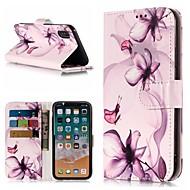 Недорогие Кейсы для iPhone 8-Кейс для Назначение Apple iPhone X / iPhone 8 Plus Кошелек / Бумажник для карт / со стендом Чехол Бабочка / Цветы Твердый Кожа PU для iPhone X / iPhone 8 Pluss / iPhone 8